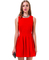 Red sleeveless open scallop back pleated dress