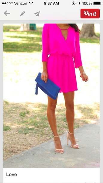 dress pink bright pretty shoes bag hot pink solid color short dress pink dress fluor pink strong pink neon pink keyhole short hot pink dress gorgeous hot pink dress summer dress sexy dress cute dress neon tunic dress short bright summer outfits fusia graduation dress style spring dress graduation dresses mini dress pink dress pintrest pink dress want pinterest bright pink electric blue clutch nude heels ankle boots blue suede boots high heels boots
