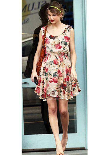 Women's round neck sleeveless elastic waist floral printing dresses online