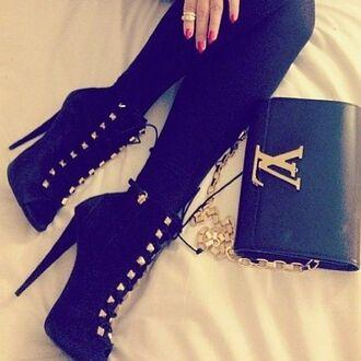 shoes clutch purse high heels fashion designer black gold louis vuitton bag