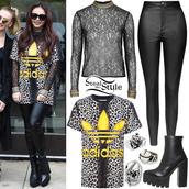 blouse,jesy nelson,adidas,adidas shirt,yellow,black