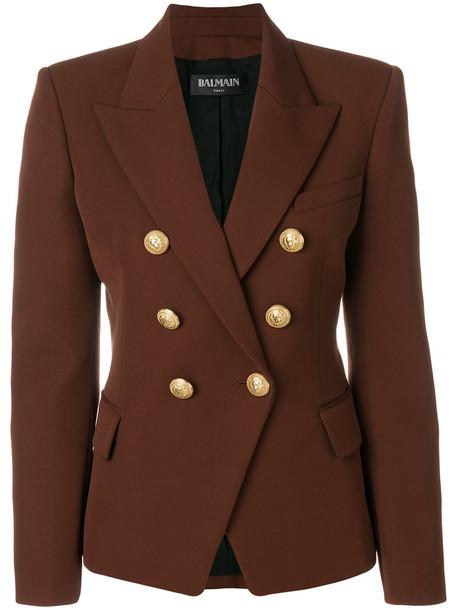 Balmain blazer women embellished cotton wool brown jacket