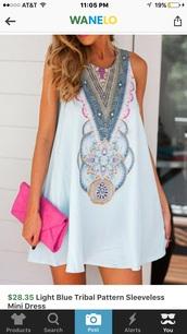 dress,light blue,tribal pattern