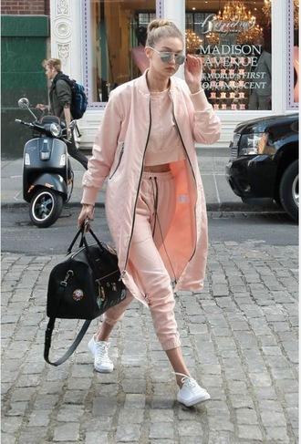 pants pink gigi hadid gigi hadid style pastel pink