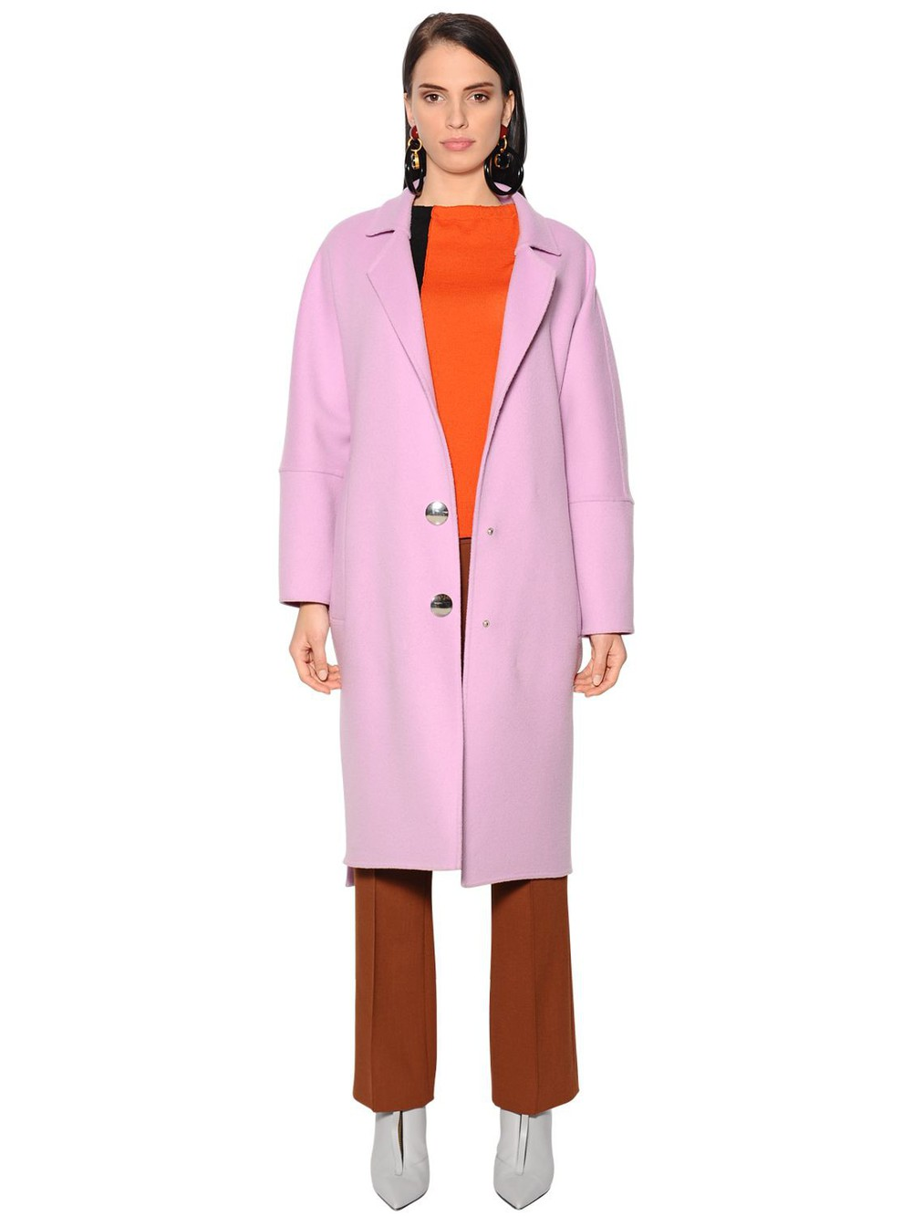 MARNI Oversized Wool Blend Coat in pink