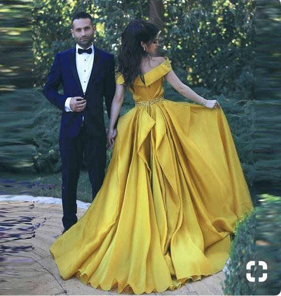 dress prom wedding yellow dress prom dress heels dances long prom dress