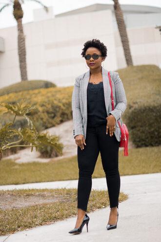 pinksole blogger sunglasses jewels jacket tank top jeans shoes bag red bag crossbody bag blazer pumps high heel pumps camisole