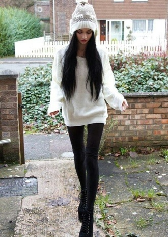 hat beanie winter outfits white sweater black jeans nordic pattern fall winter outfits