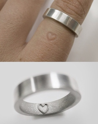 jewels clothes ring couples rings minimalist jewelry hair accessory silver ring heart imprint ring silver
