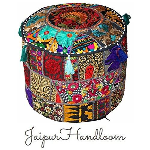 JaipurHandloom Black Indian Pouf Stool Vintage Patchwork Embellished With Patchwork Living Room Ottoman Cover, 46 X 33 Cm or 18X13 inches