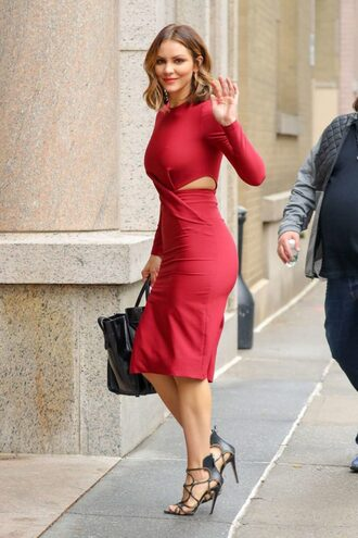 dress katharine mcphee red dress red sandals midi dress long sleeve dress fall dress