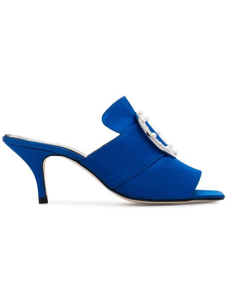 Dorateymur women embellished mules leather blue satin shoes