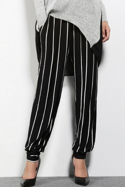 Striped Waist Drawstring Pants - OASAP.com