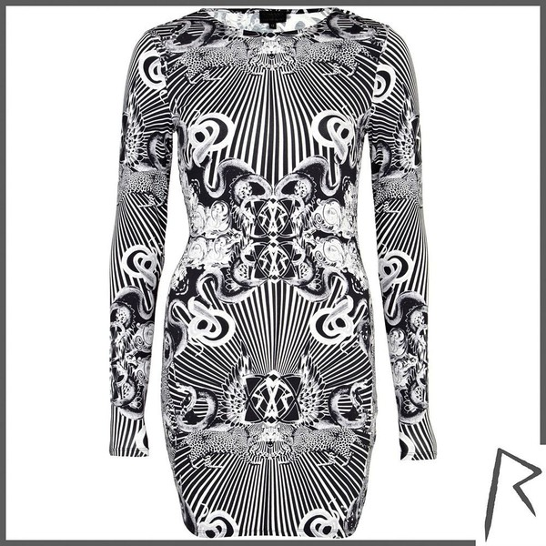 River Island Black Rihanna occult print bodycon dress - Polyvore