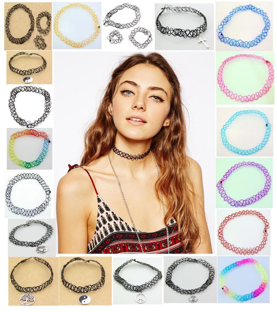 Vintage Stretch Tattoo Choker Necklace Retro Gothic Punk Elastic