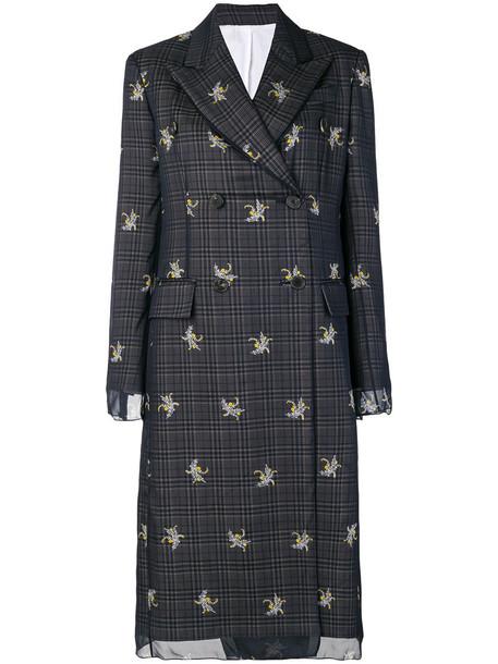 Calvin Klein coat women floral cotton blue silk wool