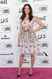 dress,floral,midi dress,emmy rossum,pumps,sheer,see through dress