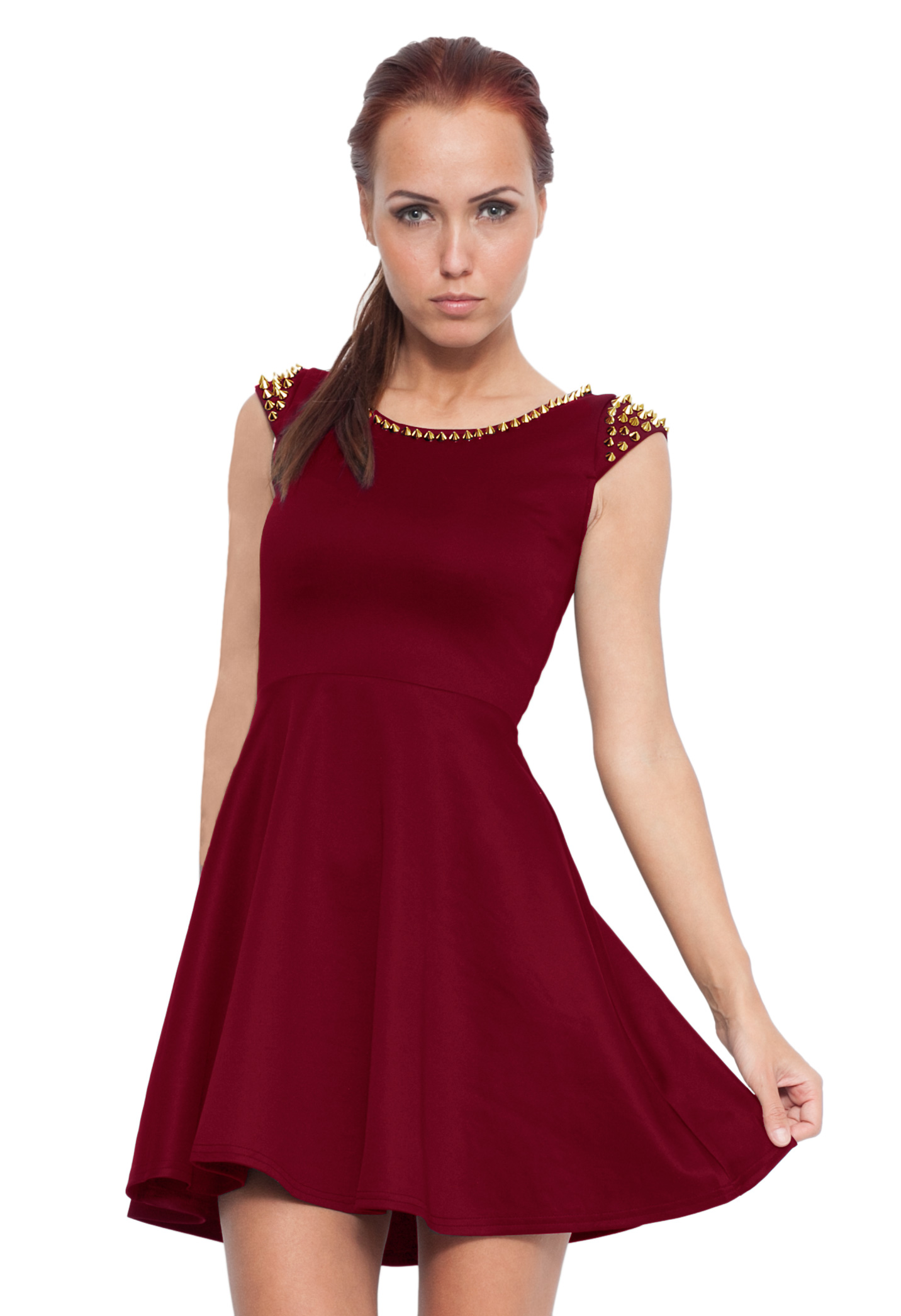 red party dress   burgundy skater dress with spike ustrendy