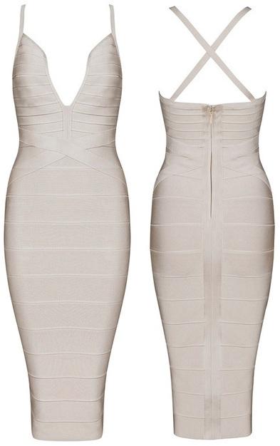 Plunge V Neck Midi Bandage Dress Nude