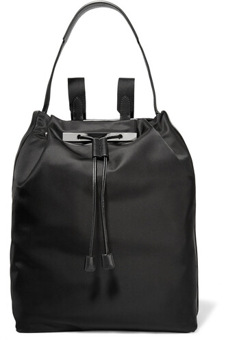 backpack leather satin black bag