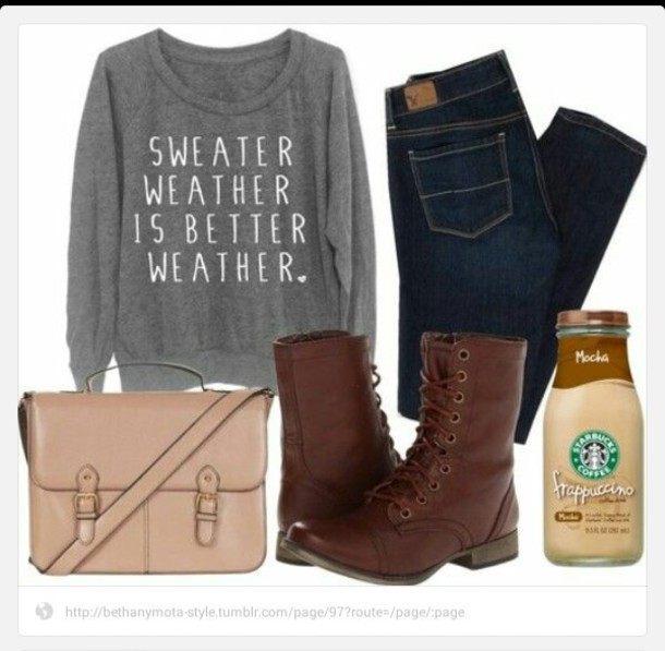 sweater boots jeans purse grey sweater shoes brown brown shoes cute brown combat boots