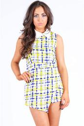 dress,ladies,noël,geometric,print,skorts,romper,neon yellow white