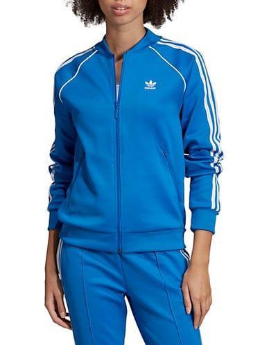 Adidas Originals Women's Striped Full Zip Track Jacket - Bluebird - Size XS