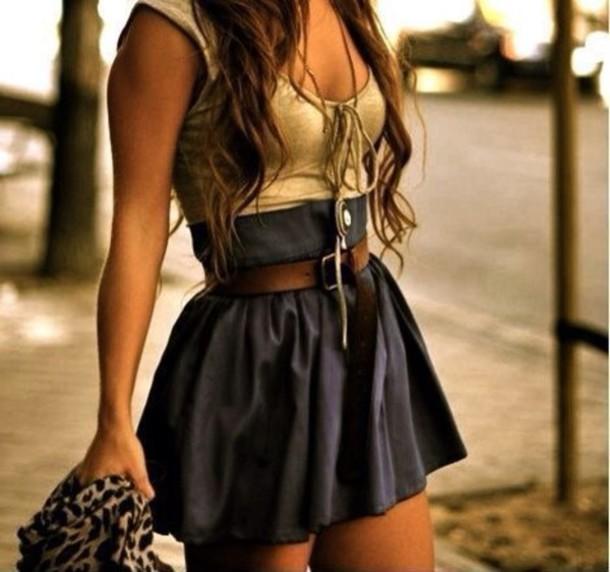 dress gold light brown black brown belt black skirt top belt jewels shirt skirt