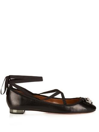 embellished flats black shoes