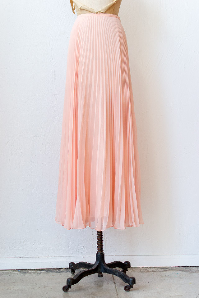 1970s pink pleat chiffon maxi skirt [Swept Off Her Feet Skirt ...