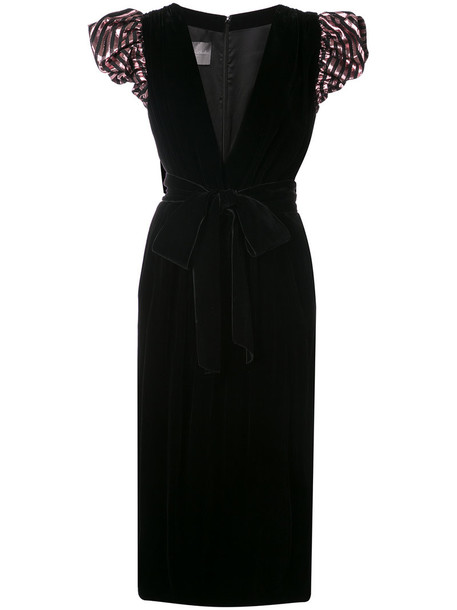 Monique Lhuillier dress metallic women black silk