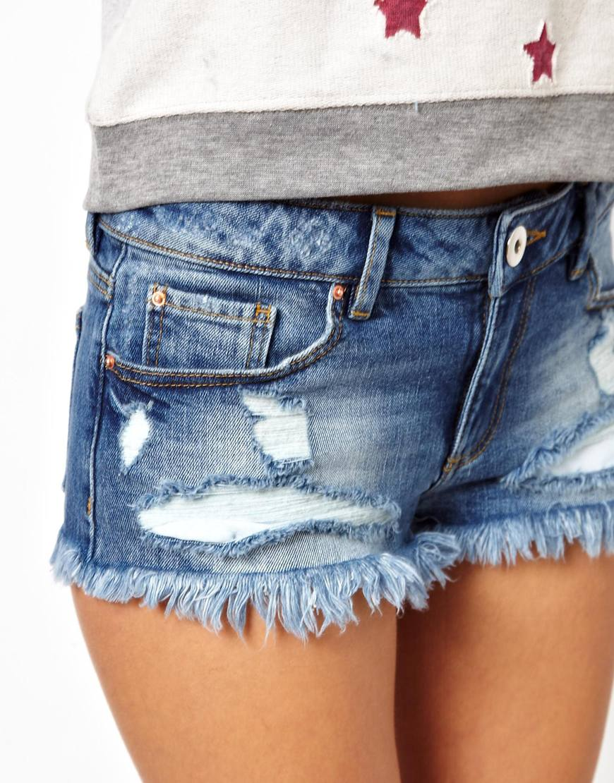 ASOS Low Rise Denim Shorts in Vintage Wash at asos.com