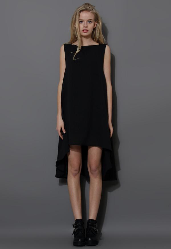 dress black asymmetrical waterfall chiffon