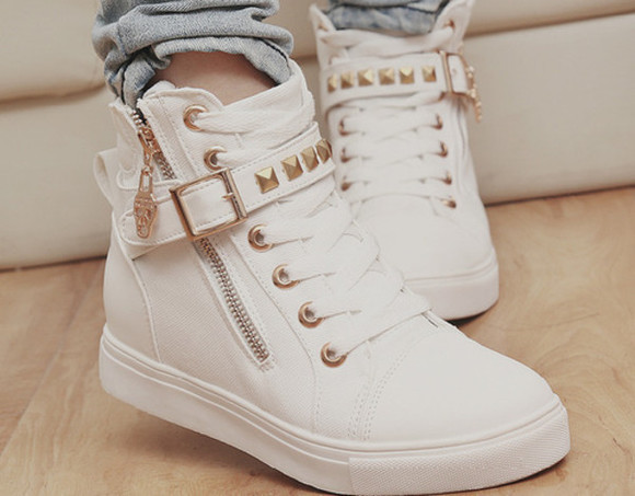 white shoes rivets sneakers high top sneaker golden details scull zipper