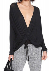 blouse,black plain simple slim deep v neck long sleeve wrap t-shirt,nextshe,black,deep v nec