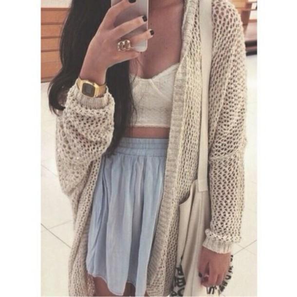 cardigan skirt top cream white long sleeves knit
