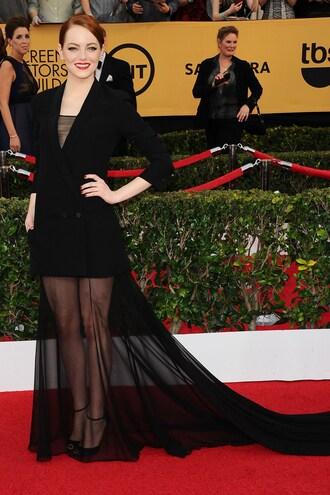 dress gown emma stone sag awards black sheer shoes sandals