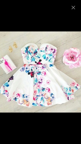 dress floral white blue pink purple red rose flowers cute tumblr hipster pastel summer spring girly short floral dress sweetheart dresses summer dress spring dress girly dress fashion style short dress