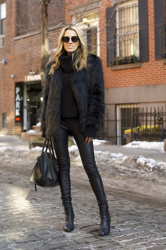 mind body swag blogger all black everything leather leggings faux fur coat sweater pants coat shoes sunglasses bag black fur coat leather pants faux fur jacket big fur coat black leather pants black pants black sunglasses black bag celine celine bag turtleneck sweater black fur jacket