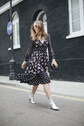dress tumblr feminine midi dress floral floral dress printed dress long sleeves long sleeve dress boots ankle boots mid heel boots metallic silver silver shoes sunglasses silver boots