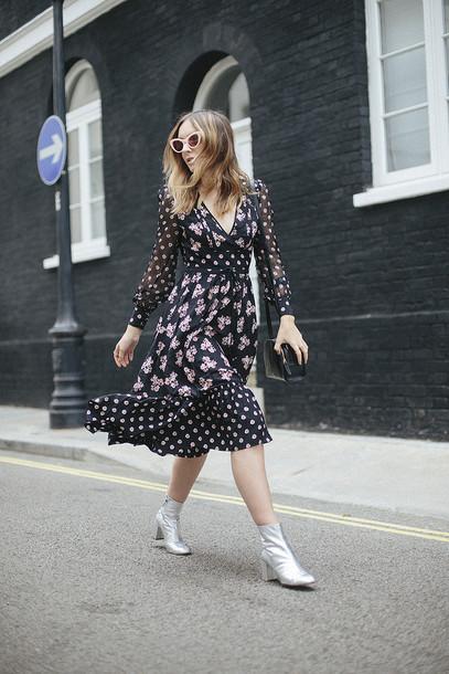 69e66f0b7a8a dress tumblr feminine midi dress floral floral dress printed dress long  sleeves long sleeve dress boots