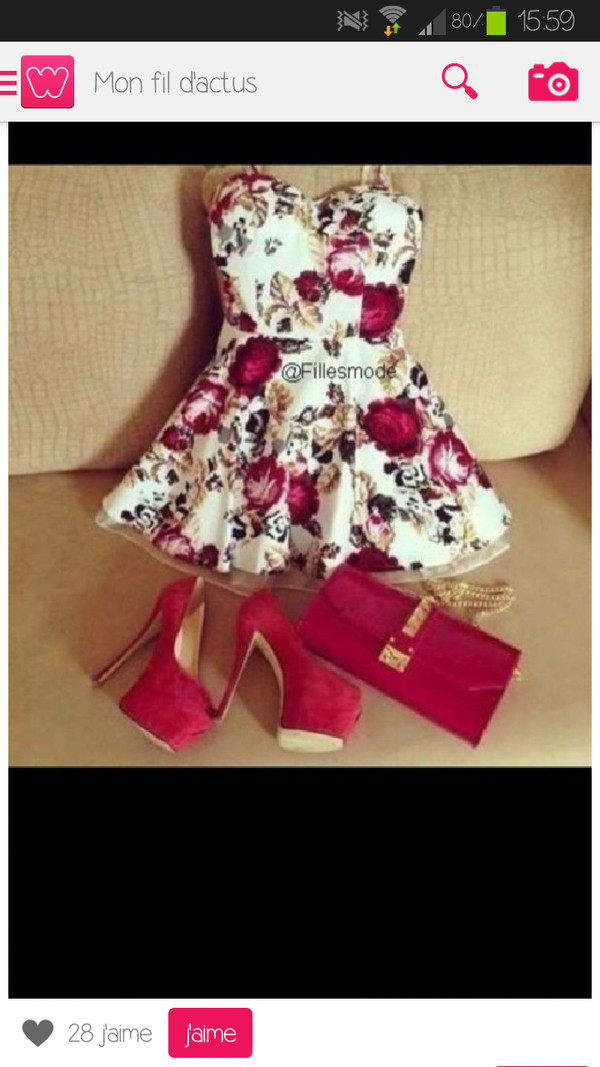 dress red white dress flowers