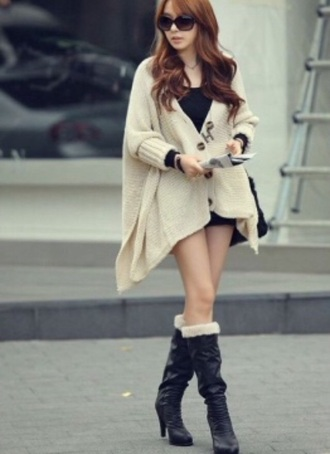 cardigan beige knitted cardigan coat sweater winter sweater fall outfits fashion kawaii girly clothes doublelw