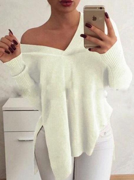 d51d331f8e sweater, girly, tumblr, white, cute, outfit, v neck - Wheretoget
