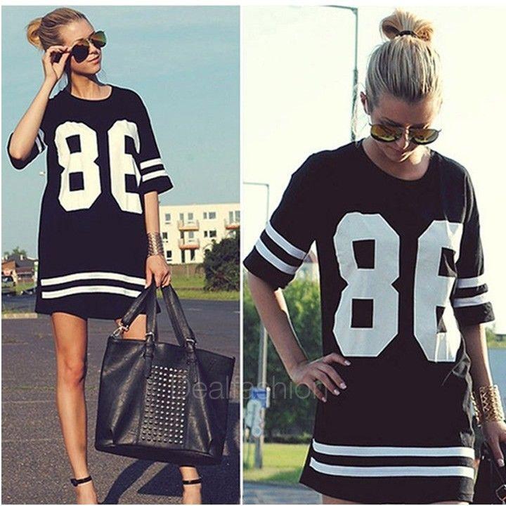 Celeb Style Women Oversized 86 Print Baseball Tee T Shirt Short Sleeve Top DF | eBay