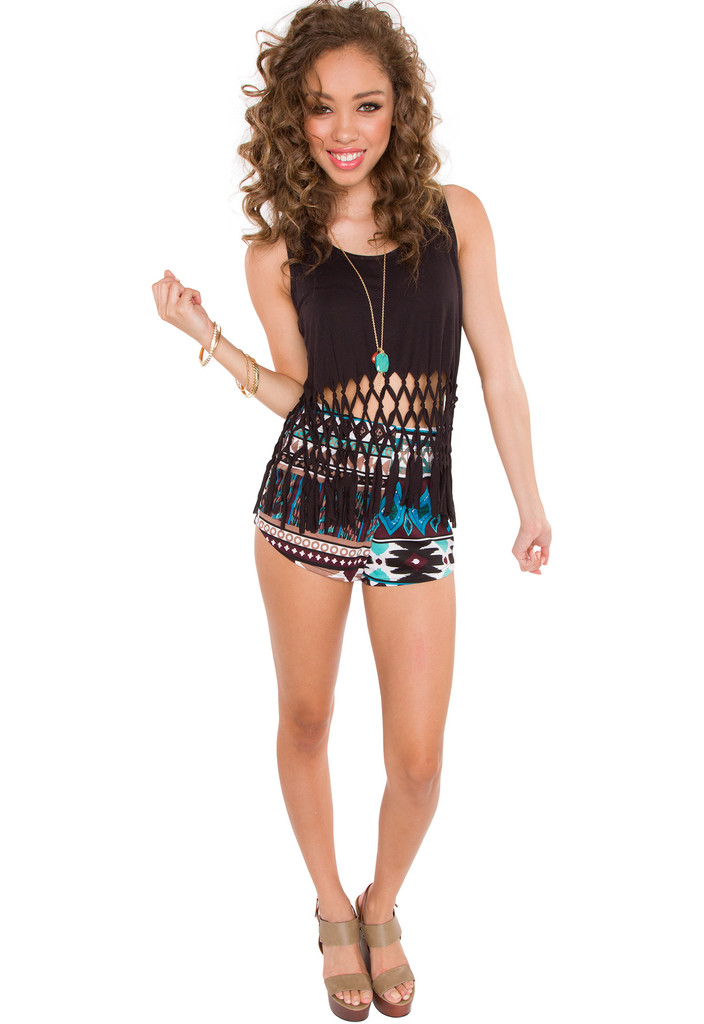 Take It From Here Fringe Crop Top - Black