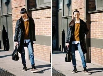 vanessa jackman blogger jeans mustard jumper quilted coat sneakers