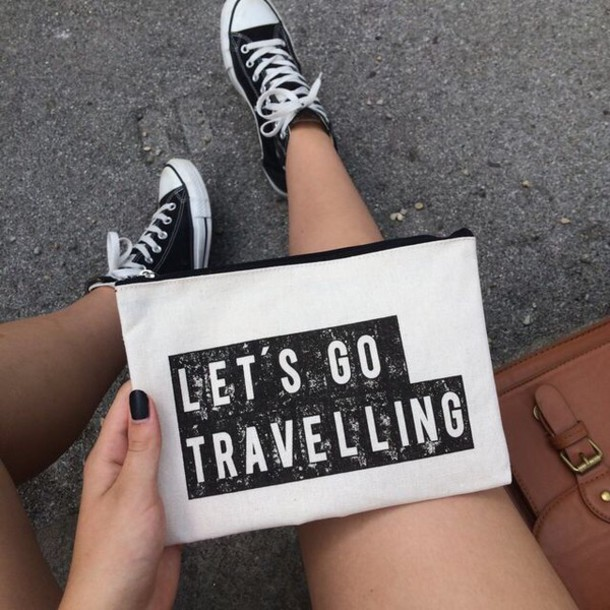 bag purse new years resolution clutch handbag makeup bag travel black letters let's go traveling black writing