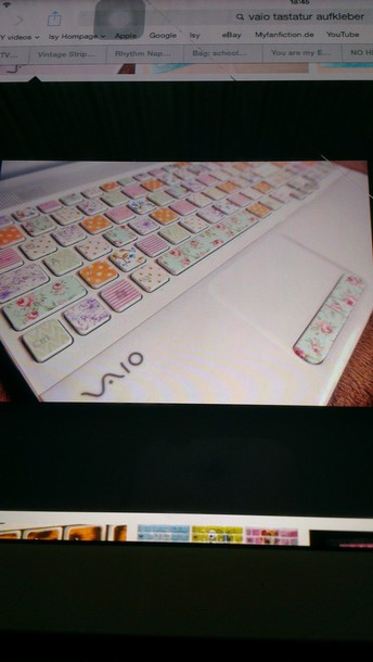 nail polish vintage vaio keyboard tastatur stickers stickers cute beautiful laptop style flowers pink white sony laptop keyboard keyboard sticker computer sticker computer accessory