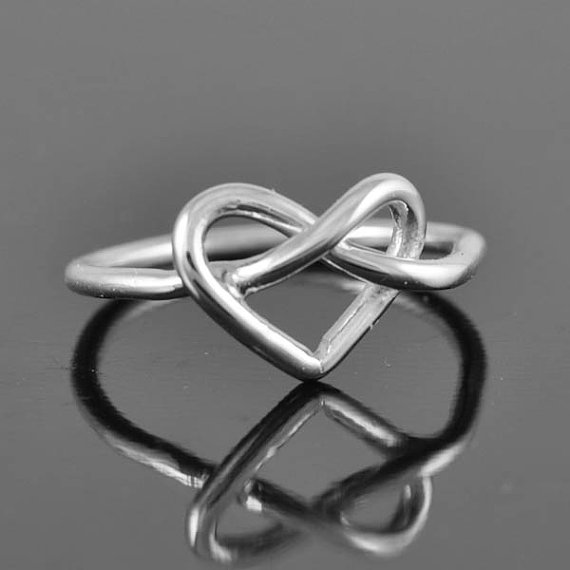 Infinity ring heart ring sterling silver ring by jubilejewel